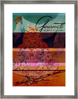 A Pink Wedding Cake And Ceremonial Silver Cutting Framed Print by Henry Stahlhut