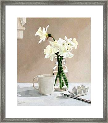 A Pint Of Daffodils Framed Print by Sandra Chase