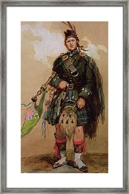 A Piper Of The 79th Highlanders At Chobham Camp Framed Print by Eugene-Louis Lami