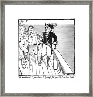 A Pirate Captain Addresses His Crew. He Has Two Framed Print by Matthew Diffee