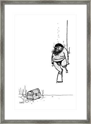 A Pirate Scuba Diver Gets Lowered Down To Recover Framed Print by Edward Steed