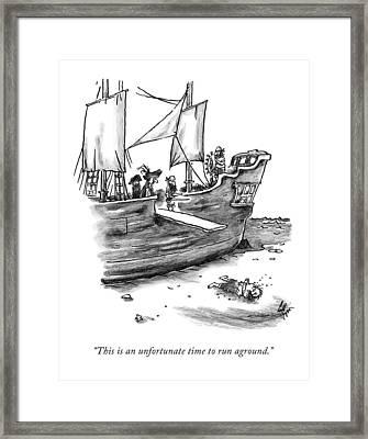 A Pirate Shit Stuck On Land Framed Print
