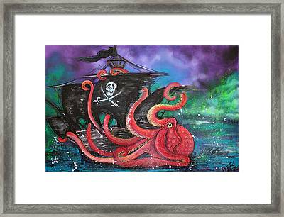 A Pirates Tale - Attack Of The Mutant Octopus Framed Print by Laura Barbosa