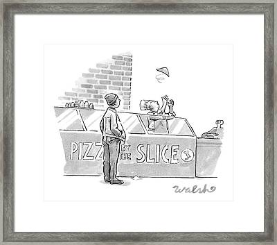 A Pizza Maker Tosses A Single Slice In The Air Framed Print by Liam Walsh