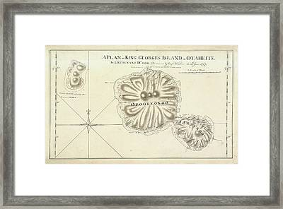 A Plan Of King Georges Island On Otaheite Framed Print
