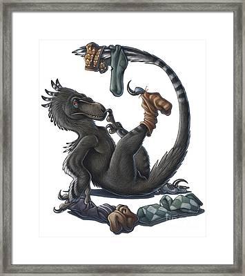 A Playful Deinonychus Dinosaur Playing Framed Print