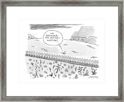 A Plot Of Grass Is Seen To Reflect As It Sits Framed Print by Mick Stevens