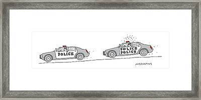 A Police Car Being Chased By A Police Police Car Framed Print by Mick Stevens
