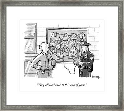 A Police Man Speaks To A Detective At A Cork Framed Print by Benjamin Schwartz