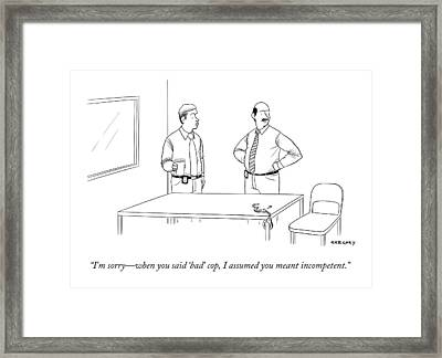 A Police Officer And An Empty Pair Of Handcuffs Framed Print by Alex Gregory