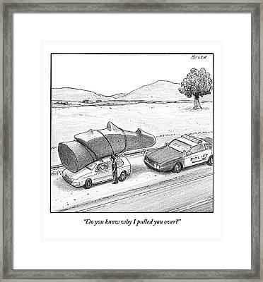 A Police Officer Has Pulled Over A Car With An Framed Print