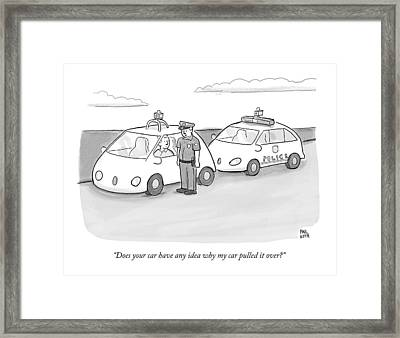 A Police Officer In A Futuristic Smart-car Pulls Framed Print