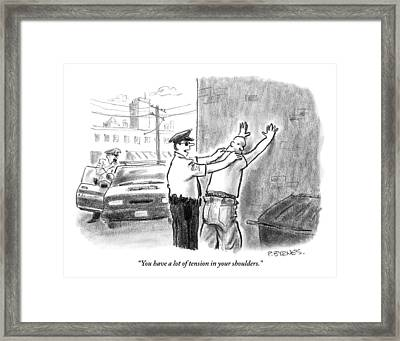 A Policeman Talks To A Man He Is Frisking Or Framed Print