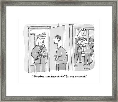 A Policeman With A Martini Glass Stands Framed Print