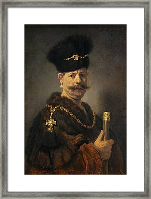 A Polish Nobleman Framed Print by Rembrandt