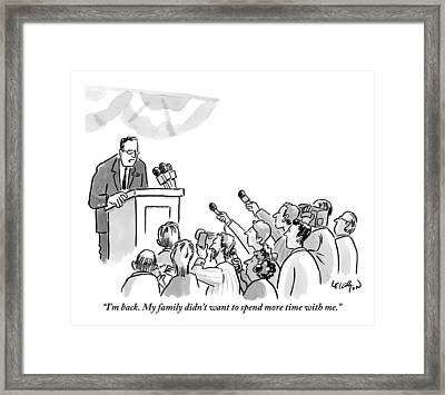 A Politician Addresses A Press Conference Framed Print
