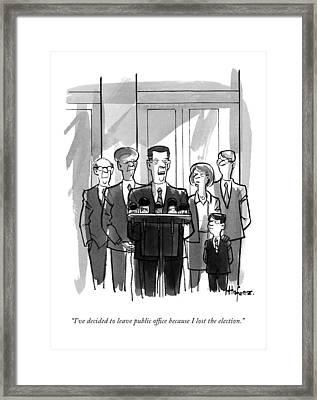 A Politician Makes A Speech Framed Print