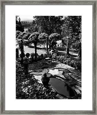 A Pond In An Ornamental Garden Framed Print by Gottscho-Schleisner