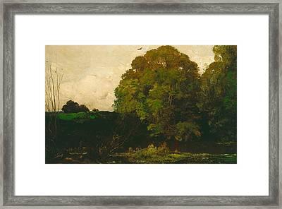 A Pond In The Morvan Framed Print by Charles Francois Daubigny