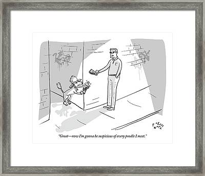 A Poodle Mugs A Man In The Alley Framed Print by Farley Katz