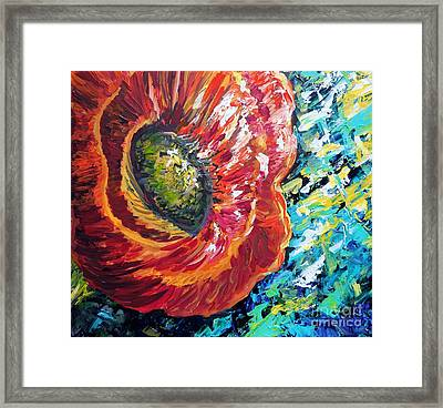 A Poppy Takes Center Stage Framed Print by Eloise Schneider