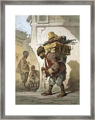A Porter Of Goods, 1865 Framed Print by Amadeo Preziosi