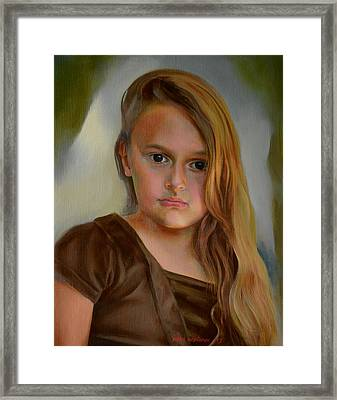 A Portrait Of A Girl Framed Print by Jukka Nopsanen