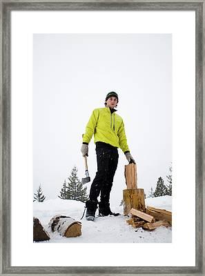 A Portrait Of A Man Holding An Ax Framed Print
