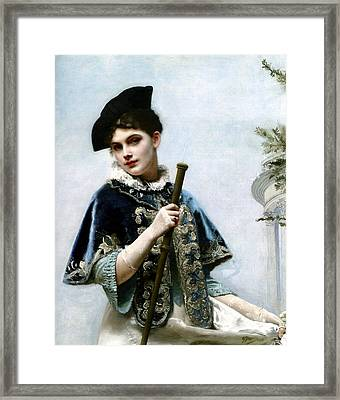 A Portrait Of A Nobel Lady Framed Print by Gustave Jean Jacquet