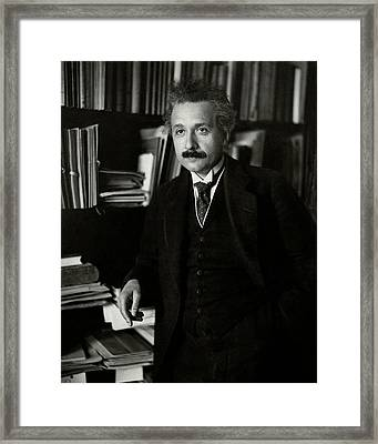 A Portrait Of Albert Einstein Framed Print by Martin Hohlig