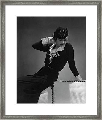 A Portrait Of Anne Whitehead Looking Down Framed Print
