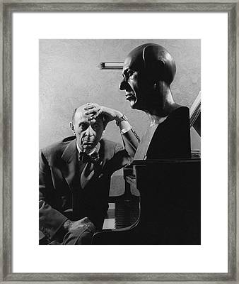 A Portrait Of Arnold Schoenberg Leaning Framed Print by Crane Ralph