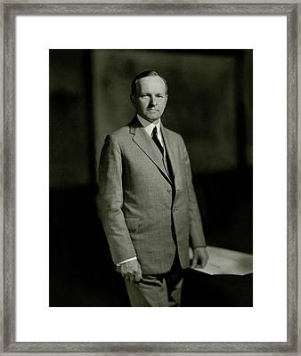 A Portrait Of Calvin Coolidge Framed Print by Nickolas Muray