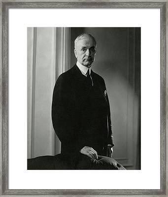A Portrait Of Cordell Hull Framed Print by Edward Steichen