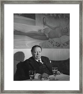 A Portrait Of Diego Rivera At A Restaurant Framed Print