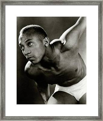 A Portrait Of Jesse Owens Shirtless Framed Print by Lusha Nelson