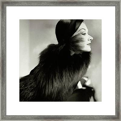 A Portrait Of Lisa Fonssagrives From The Side Framed Print by Frances Mclaughlin-Gill
