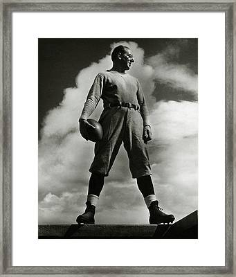 A Portrait Of Lou Little With A Football Framed Print