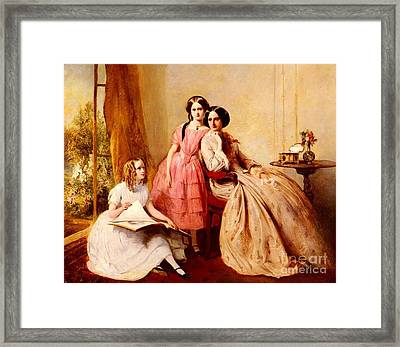 A Portrait Of Two Girls With Their Governess Framed Print