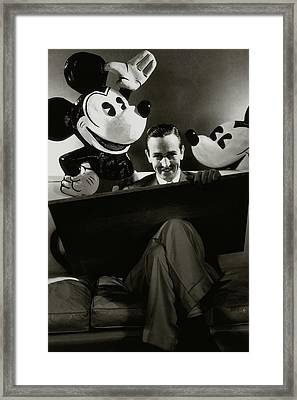 A Portrait Of Walt Disney With Mickey And Minnie Framed Print