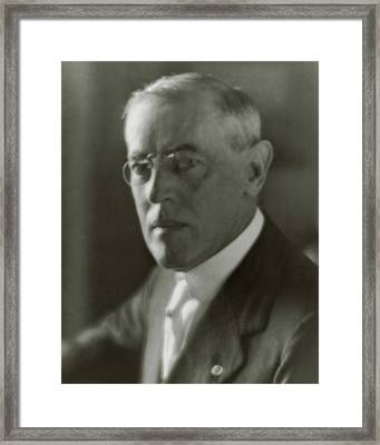A Portrait Of Woodrow Wilson Framed Print by Arnold Genthe