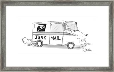 A Postal Truck Has The Phrase Junk Mail Framed Print