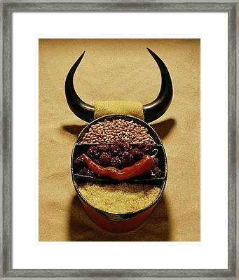 A Pot With Beans Framed Print by Rudy Muller