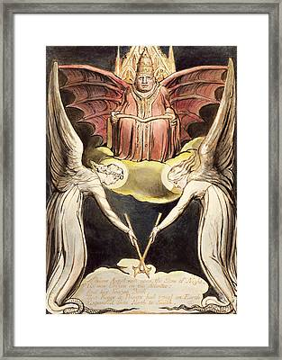 A Priest On Christ's Throne Framed Print by William Blake