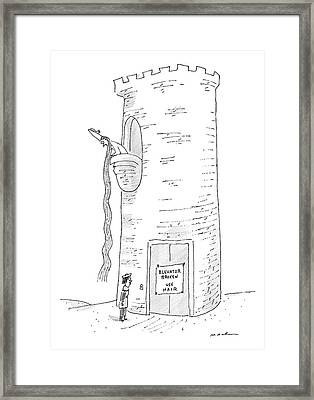 A Prince Reads That Rapunzel's Tower's Elevator Framed Print by Michael Maslin