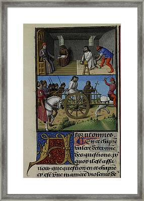 A Prisoner Being Questioned By A Priest Framed Print by British Library