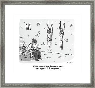 A Prisoner In A Dungeon Speaks To A Torturer Who Framed Print by Zachary Kanin