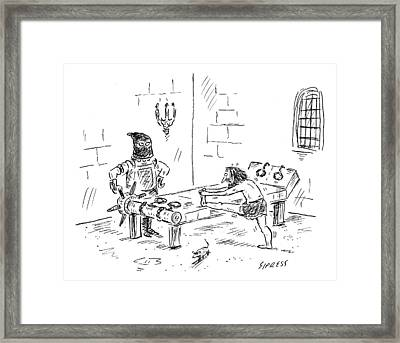 A Prisoner Is Seen Stretching On A Torture Rack Framed Print