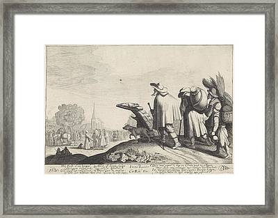 A Procession Of Tramps On The Way To The Market Or Fair Framed Print by Jan Van De Velde (ii)