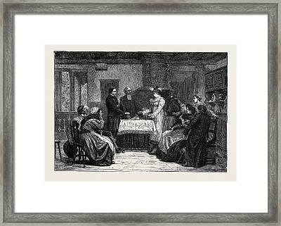 A Protestant Wedding In Alsace Framed Print by English School